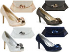 Ruby Shoo Sonia Jewelled Peeptoes & Porto Bag Silver Rose Gold 3-8 36-41 Bridal