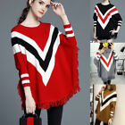 Women Knitwear Batwing Poncho Knit Sweater Striped Cardigan Outwear Coat Blouse