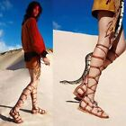 women's hollow out lace up bandage flat heels gladiators knee high shoes sandals