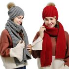 Hot Women Hat Scarf Set Stylish Knitted Beanie Comfortable Scarves Solid Color