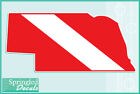 NEBRASKA Shaped DIVE Flag Vinyl Decal Car Truck Sticker SCUBA Diving Decal