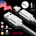 3/6FT Magnetic Type-C Micro USB Fast Charging Cable Charger for Samsung Android