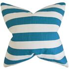 Ilaam Stripes Feather Filled Blue Throw Pillow
