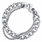 Wheat Curb Cuban Link 10-14mm Mens Bracelet Chain Stainless Steel Silver Tone