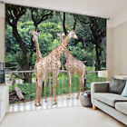 3D Africa Zoo Giraffe Blockout Photo Printing Decor Curtain Fabric Window Drapes