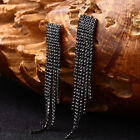 Fashion Lady Long Tassels Drop Dangle Stud Earrings Statement Eardrop Sanwood