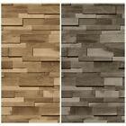MURIVA WOODEN SLATE FEATURE WALLPAPER 2 COLOURS AVAILABLE BROWN & GREY