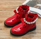 Womens Girls Thicken Pearls Bowknot Ankle Boot Casual Shoes Princess 2Colors sz