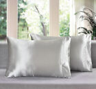 SET OF TWO NEW ULTRA SOFT POLYESTER CHARMEUSE SILK~Y SATIN KING PILLOWCASES