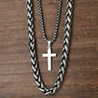 Cross Pendant Necklace Mens Double Chain Stainless Steel Polish Curb Silver Gold