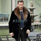 Winter New Fashion Mens Plus Sz Real Mink Fur Jacket Big Collar Single Breasted