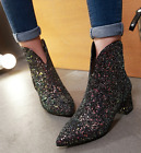 Women Pointed Toe Sequin Chunky Block Heel Shiny Patent Pumps Ankle Boots Shoes