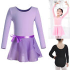 Girl Skate Gymnastics Dance Chiffon Wrap Scarf Skirts Ballet Long Sleeve Leotard