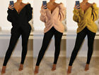 New Ladies Knitted Twist Front Wrap Back V-Neck Long Sleeve Open Jumper Top