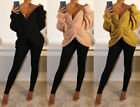 Ladies Knitted Twist Front Wrap Back V-Neck Long Sleeve Open Knot Jumper Top