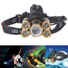 Rotate 12000LM Zoomable 5 LED USB Rechargeable Headlamp Head Light Torch 18650