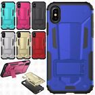 For Apple iPhone X HYBRID KICK STAND Rubber Case Phone Cover +Screen Protector