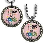 I Love to Color Kid's Bottle Cap Necklace w/chain Coloring Childrens Fun Jewelry