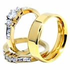 Couple Rings Set Womens 14K Gold Plated Small Round CZ Engagement Ring Mens Gold