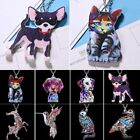Colorful Printing Animal Cat Dog Pendant Necklace Women Sweater Chain Jewelry