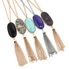 big stone necklace - Fashion Women's Big 2'' Oval Abalone Druzy Stone Long Tassel Pendent Necklace