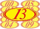 Red & Yellow Two Digit Oval Year Car Dealer Windshield Pricing Sticker You Pick
