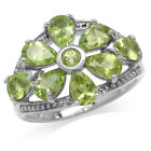 3.4ct Natural Peridot Gold Plated 925 Sterling Silver Flower Cluster Ring SZ 7