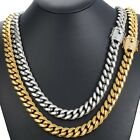 Miami Cuban Curb Mens Necklace Chain 316L Stainless Steel Hip Hop CZ Gold Silver