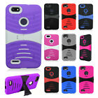For ZTE Blade Force HYBRID Hard Gel Rubber KICKSTAND Case Phone Protector Cover