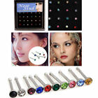 Women Sexy Surgical Steel Rhinestone Bone Pin Stud Jewelry Nose 24X316L Rings