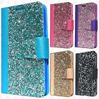 For LG K3 LS450 Premium Bling Diamond Wallet Flip Pouch Cover +Screen Protector
