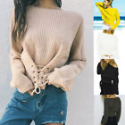 Women Jumper Pullover Batwing Long Sleeve Sweater Lace Up Front Knitwear Tops