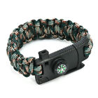 Survival Buckle Rope Outdoor Paracord Bracelet Camp Shackle Hiking Flint Compass