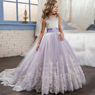 Princess A-line Lace Flower Girl Dress Kids Party Wedding Bridesmaid Formal Gown