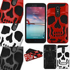 For ZTE Blade X Max Z963 SKULL Hard Hybrid Dual Layer Soft Rubber Case Cover
