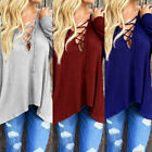 Sexy Women V-Neck Lace Up T-Shirt Long Sleeve Casual Loose Tops Blouse Shirt