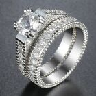 Micro Paved Clear CZ Solitaire Lady Womens Ring Set White Gold Filled GF Wedding