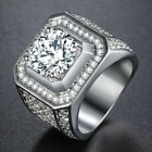 Micro Paved CZ Mens Band Ring White Gold Filled GF Clear Cubic Zirconia Wedding