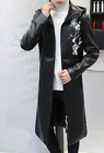 Mens PU Leather Fleece Lined Hooded Trench Outwear Warm Slim Fit Overcoat B470