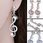 #E520B Pair CLIP ON EARRINGS Treble Clef Music Note Crystal Lavender or Clear AB