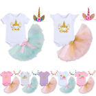 Girl Baby Birthday Party Romper Unicorn Headband Princess Tutu Dress Set Clothes