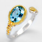 Fineart Jewelry Natural Blue Topaz 925 Sterling Silver Ring - RVS03