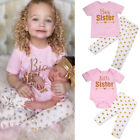 Big Sister T-shirt Little Sisters Romper Tops +Long Pants Girls Matching Outfits