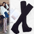 Women Sexy High Wedge Platform Round Toe Over Knee Stretch Boots Muffin Shoes
