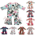 Newborn Baby Girls Floral Ruffle Romper Jumpsuit Bodysuit Pajamas Party Clothes