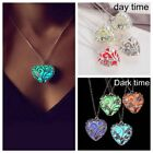 US Magic Luminous Steampunk Heart Glow In The Dark Necklace Pendant Gift Jewelry