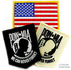 LOT OF 3 PATCHES - POW/MIA BIKER EMBLEM + American Flag MILITARY VETERAN IRON-ON