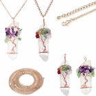 Natural Genstones Handmade Copper Wire Wrap Tree Of Life Pendant Necklace Gift