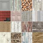 WOODEN EFFECT WALLPAPER - VARIOUS DESIGNS - PANELS LOGS PLANKS MAILBOXES & MORE