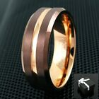 6/8mm Brown Tungsten Men's Ring Rose Gold Groove Stripe & Inside Wedding Band